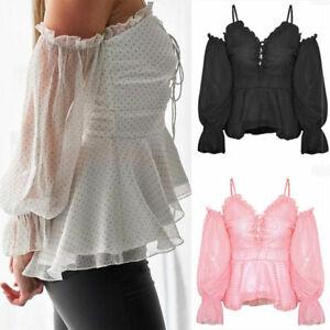 Fashion-Women-039-s-T-Shirt-Blouse-Sexy-Off-Shoulders-V-Neck-Polka-Dot-Chiffon-Tops