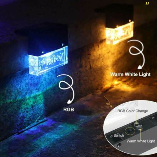 4Pcs Solar Powered LED Light Outdoor Garden Decoration Colorful Fence Stair Lamp
