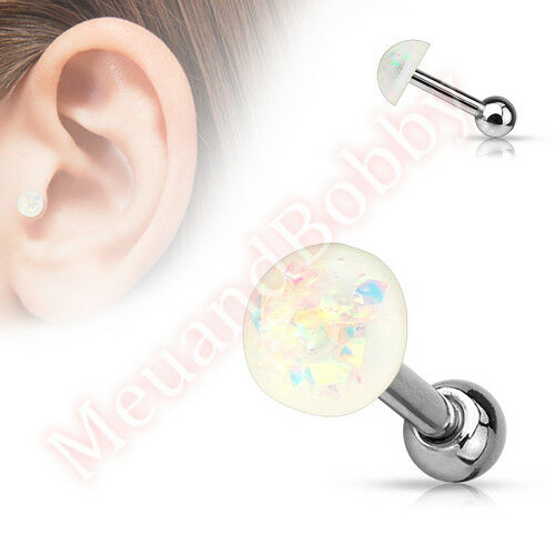 16G 6mm Imitaion Opal Glitter Dome Catilage Tragus Bar Ear Piercing Stud