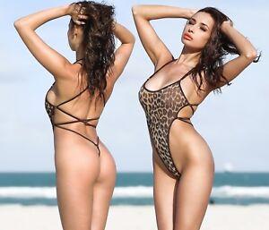 0733527acc Hot One Piece Swimsuit Monokini Thong Open Back High Cut Leg Bathing ...