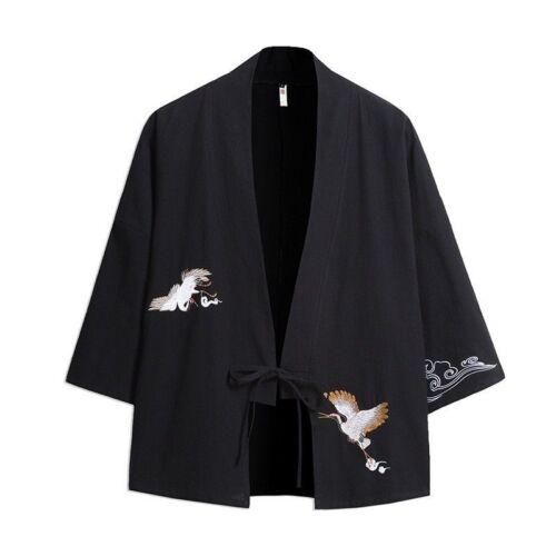 Japanisch Herren Stickerei Kimono Mantel Jacke ethnisch Outwearlinie Vintage