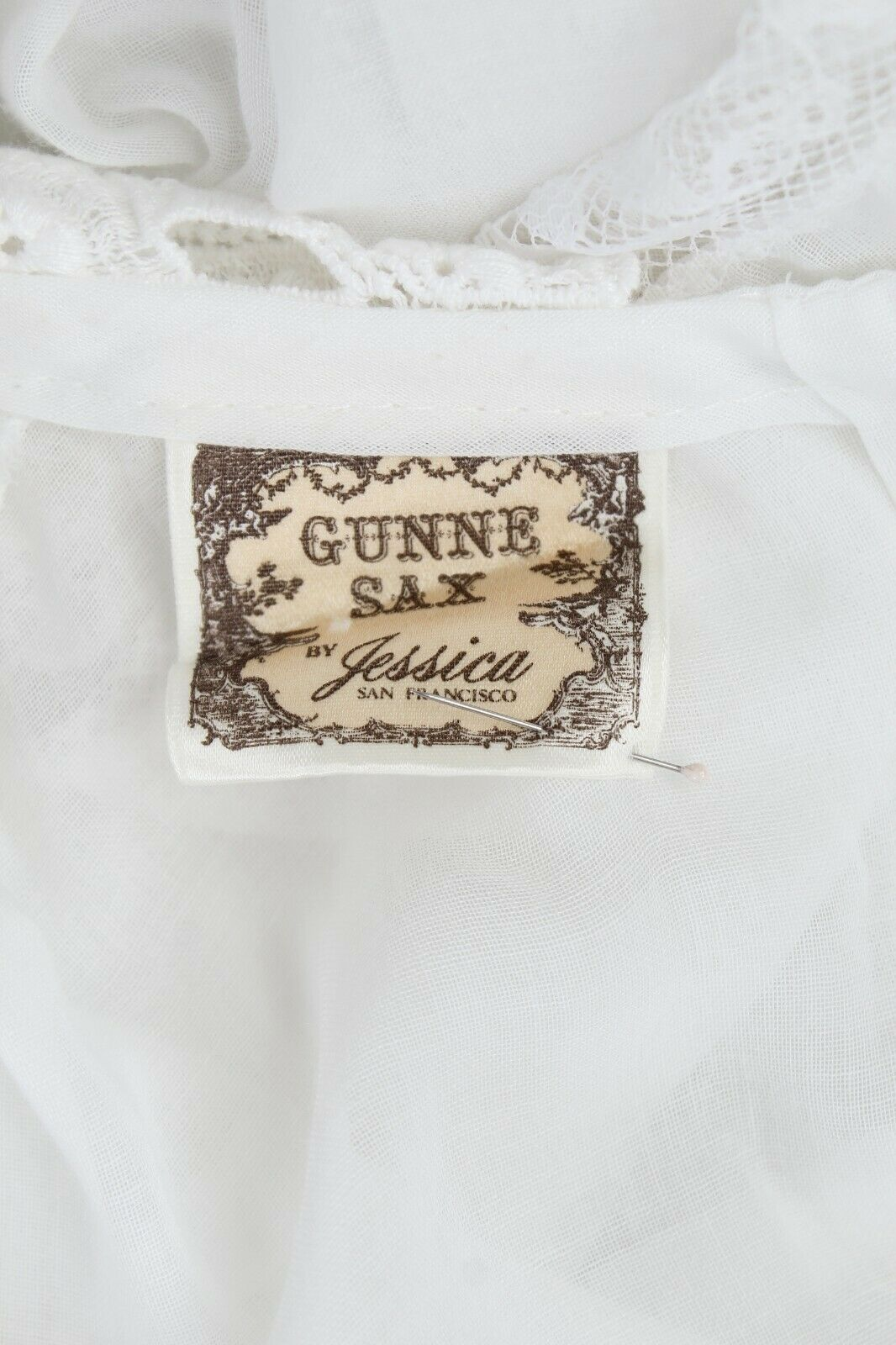 Vintage 70s Gunne Sax Dress Sheer White Crochet L… - image 6
