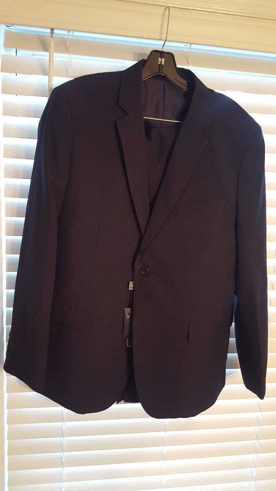 Bravemen Mens 2 Piece Suit Small 42s 36w Navy NWT Slim Fit