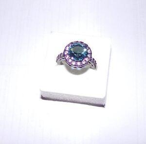 Bague-Bleu-Blue-Ring-Anello-18K-Black-Gold-Filled-Glamour-T-53-Size-6-5-New