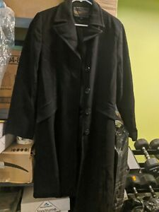 Womens-Coat-Trench-Size-12-Merino-Wool-Fully-Lined-Black-Vintage-EUC