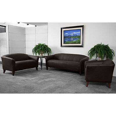 BROWN LEATHER OFFICE SOFA RECEPTION AREA SEATING SET 847254016841 | eBay