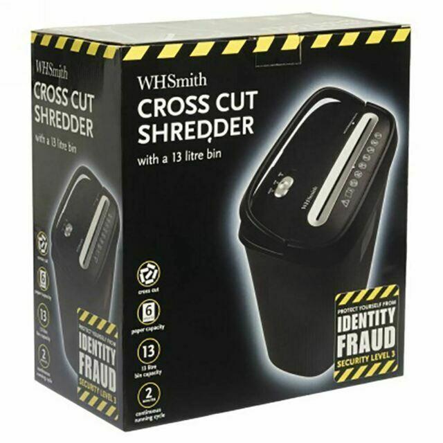 Max 6 Sheet Reverse Auto On//Off Texet A4 Cross Cut Paper Shredder 12L Waste Bin
