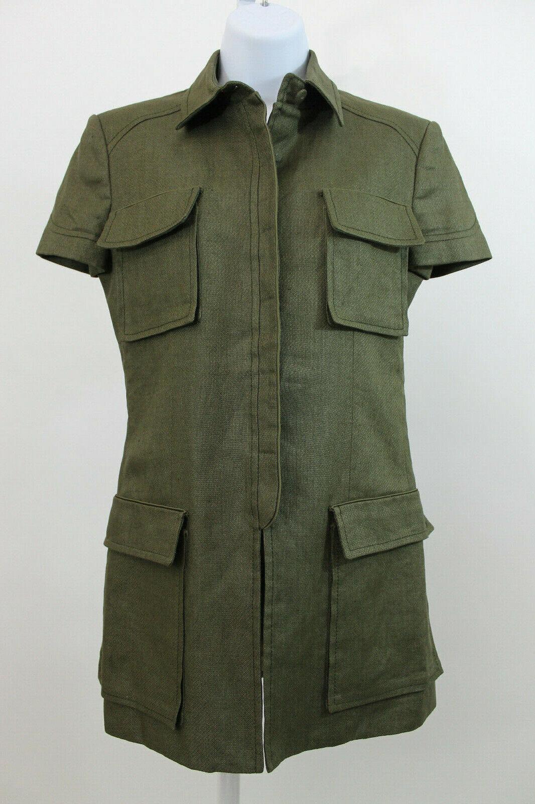Versace Armeegrün Leinen Seidenmischung Safari Top Größe 38 US 2