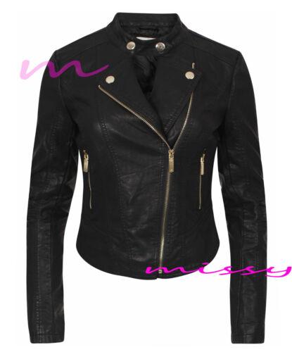 NUOVA linea donna Donna In Finta Pelle Stile Biker Giacca Crop Donna Cappotto Con Cerniera Taglia 8 10 12 14