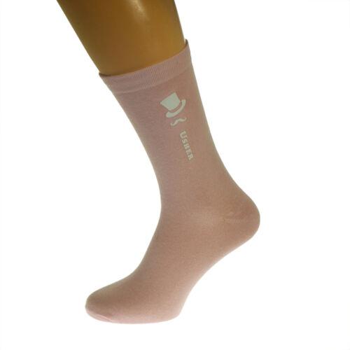Pale Pastel Pink Coloured Wedding Mens Socks Top Hat and Moustache Design X6N252