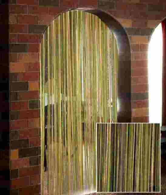 Exporthub Beautiful Green &Cream Color String Curtain With Multi Beats- 4x7,4x9