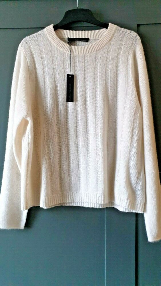 360 Cashmere Brooke Blanc Pull Ras Du Cou Pullover Large
