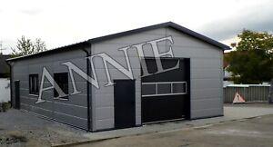 Isolierte Stahlhalle/ Garage 8 x 12 x 3,6/ 4,5 m