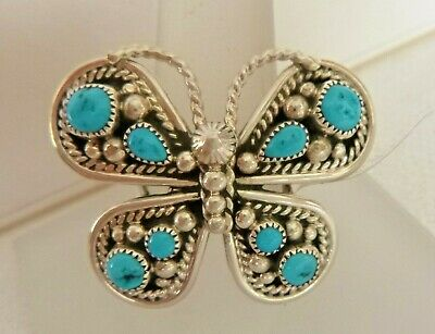 Tina Jones Turquoise and Sterling Silver Butterfly Ring Size 6.5