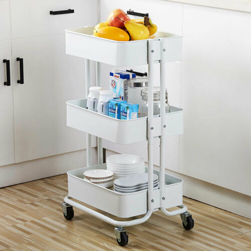 3 Tier Metal Rolling Utility Cart Mobile Storage Organizer Trolley Cart White