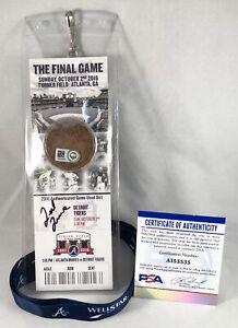 Atlanta Braves Ted Turner Signed Final Game Ticket PSA/DNA COA