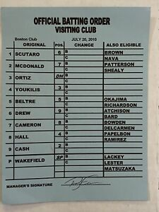 Game Used Boston Redsox Signed Line Up Card Official Batting Order RARE ORTIZ