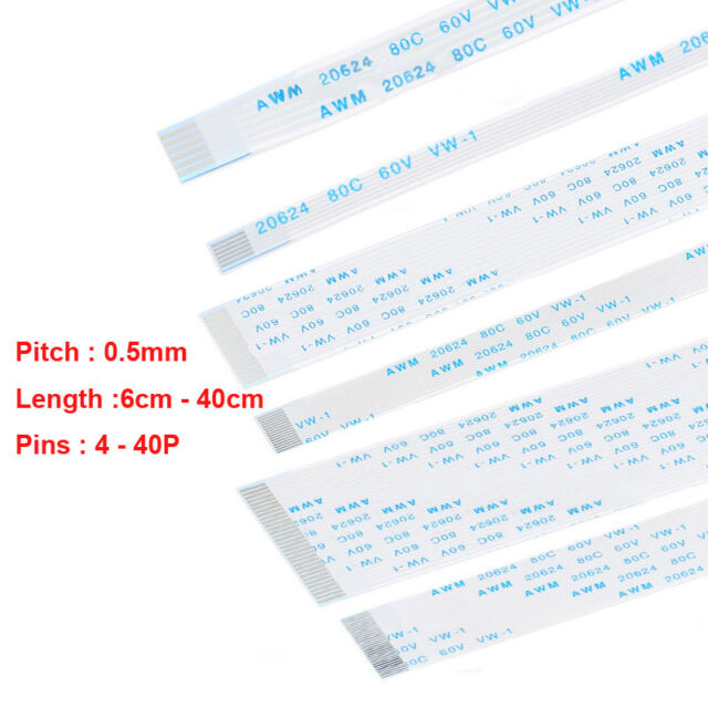 4-40Pin FFC/FPC Flexible Flat Cable Ribbon 6cm to 40cm Pitch 0.5mm 80C 60V VW-1