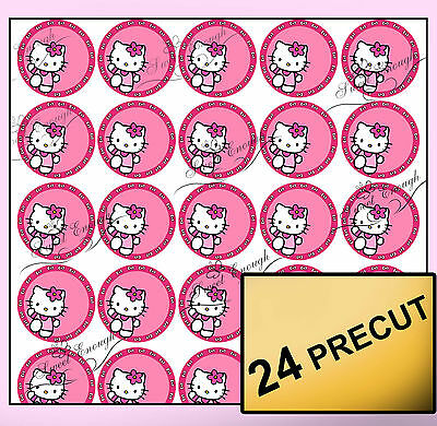 24 Hello Kitty Pre-cut Edible Wafer Rice Paper Cupcake Topper Personalised Birth
