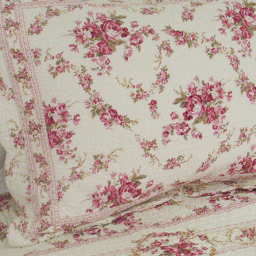 BEAUTIFUL ANTIQUE VINTAGE GREEN PINK SOFT RED ROSE COTTON WHITE FLORAL QUILT SET
