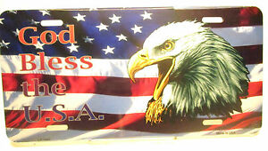 Novelty-License-Plate-Patriotic-God-Bless-the-U-S-A-New-Aluminum-Auto-Tag-1445