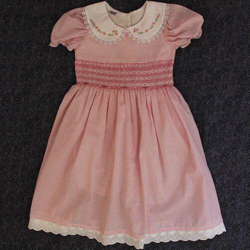 Smocked Dress Girls Baby Toddler Pink Stripe Summer Embroidered Flower Collar