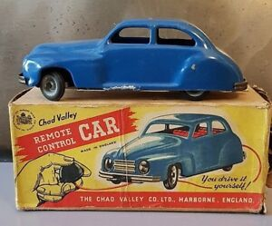 Chad Valley Remote Control Car Automobile Tôle Peinte Boite Harborne England