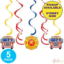 Item 1 FIRE ENGINE FIREFIGHTER FIREMAN SAM PARTY SUPPLIES 5 HANGING SWIRL DECORATIONS