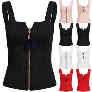 Sexy-Womens-Zipper-Tank-Tops-Cami-Vest-Ladies-Sleeveless-Camisole-Blouse-Shirt