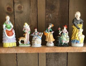 6 Vintage Occupied Japan Figurines Woman Hand Painted Victorian Edwardian Ebay
