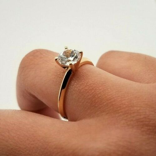 14K Solid Yellow Gold 1 CT Solitaire Engagement Wedding Ring Round Cut