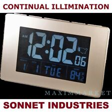ATOMIC LCD ALARM CLOCK WITH LARGE TIME NUMBERS AND CONTINUAL LIGHT