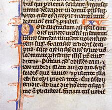 RARE ILLUMINATED MANUSCRIPT MEDIEVAL FOLIO BIBLE LEAF c.1247,  SAMSON & DALILA !