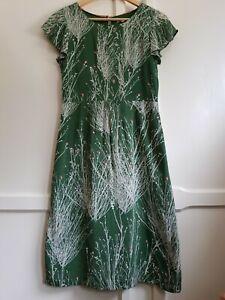 Beautiful White Stuff Green Tree Pattern Dress - Size 8