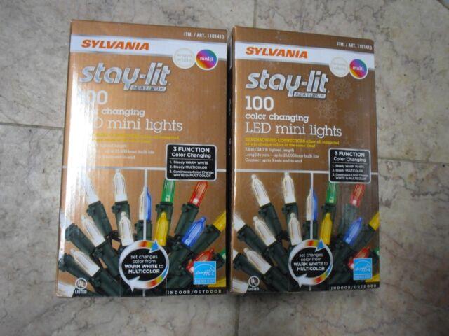 2x sylvania 100 led mini 3 function synchronized color changing christmas lights