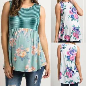 Women-Maternity-Summer-Vest-Floral-Stripe-Sleeveless-Tops-Shirt-Pregnancy-Blouse