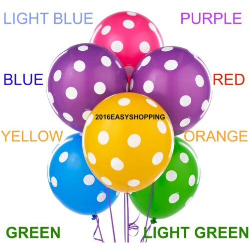 """10 X12/""""INCH POLKA DOTS SPOTTY PLAIN LATEX BALLOONS BIRTHDAY PARTY WITH SUPPLIES"""