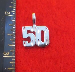 """14KT WHITE GOLD EP NUMBER /""""26/"""" DIAMOND CUT CHARM"""