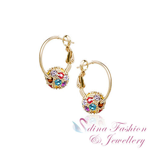 18k Rose Gold Plated Made With Swarovski Crystal Colourful Ball Hoop Earrings Ebay