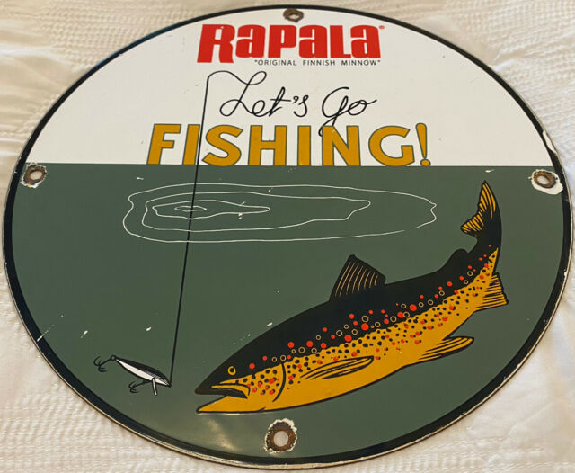 VINTAGE RAPALA ORIGINAL MINNOW PORCELAIN SIGN, GAS, OIL, JOHNSON, OUTBOARD, PENN