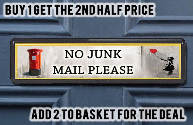 Banksy Postbox Polite No Junk Mail Sign Sticker for Letterbox Leaflet  Flyers Men