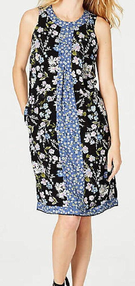 J.Jill  Mixed-Print Center-Pleat Dress  XL   NWT     schwarz heirloom daisies