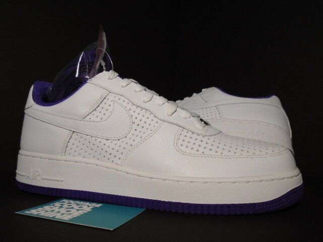 2006 Nike Air Force 1 Low WHITE VARSITY PURPLE PERFORATED STARS 313642-151 10.5