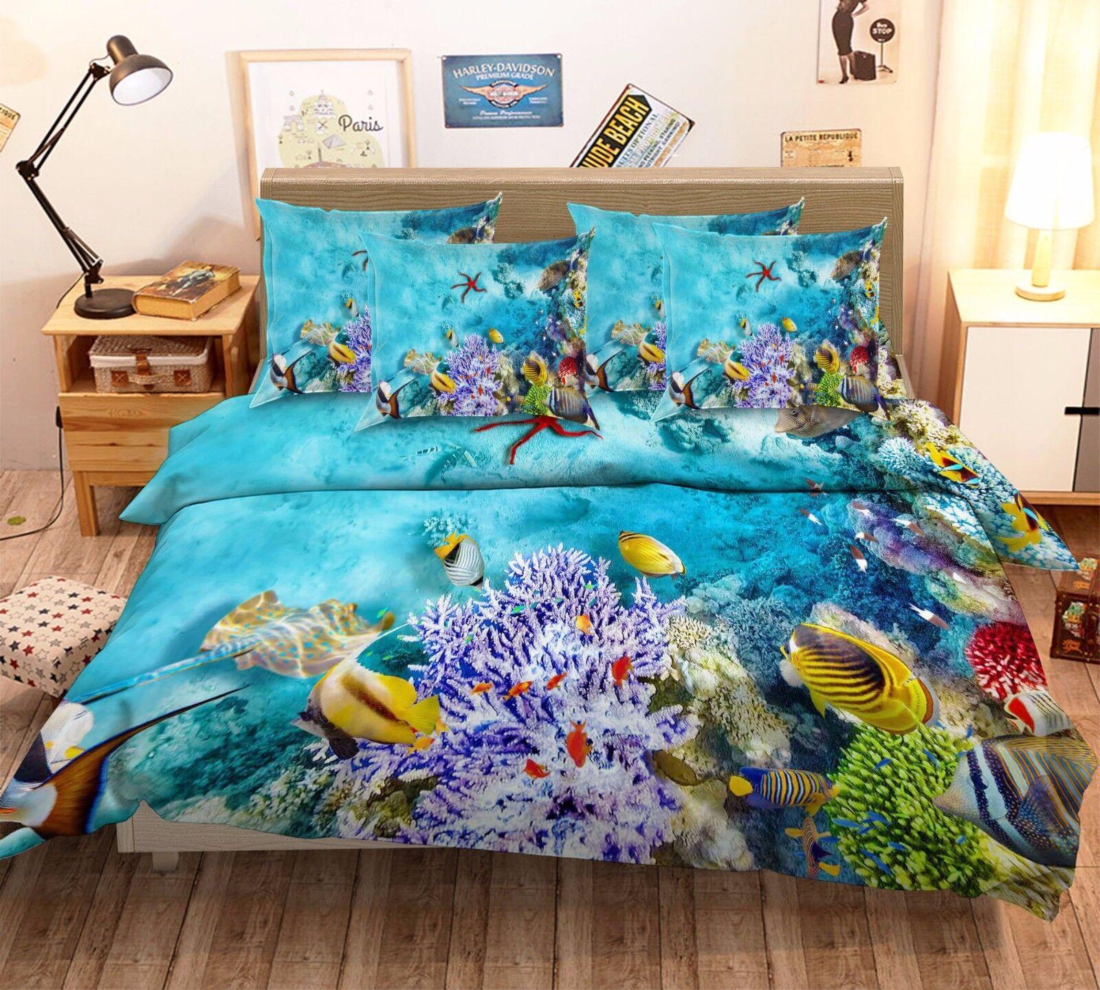3D Starfish Coral Fish 7 Bett Pillowcases Quilt Duvet Startseite Set Single Königin AU