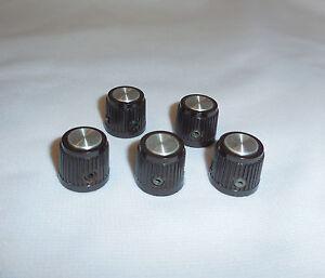 5-Textured-Knobs-5-8-034-H-x-3-4-034-1-4-034-Shaft-Set-Screws-Aluminum-Cap-Steel-Insert