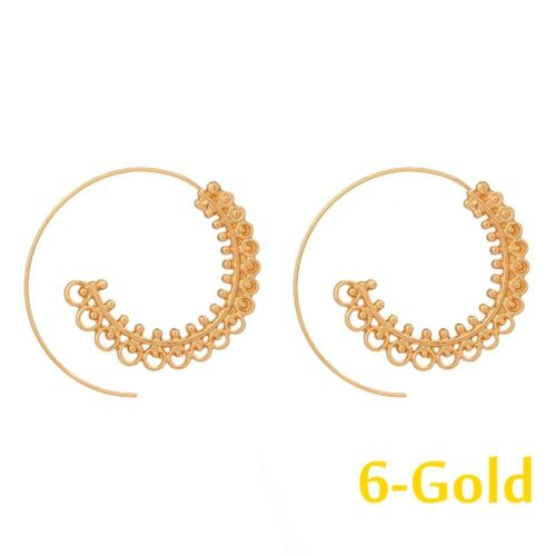 Plated Jewelry Fashion Dangle Hoop Earrings Circles Round Brass Spiral