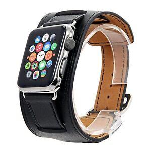 Noir Premium Genuine Leather Cuff Bracelet Bande Pour Apple Watch Iwatch 38 Mm/42 Mm-afficher Le Titre D'origine