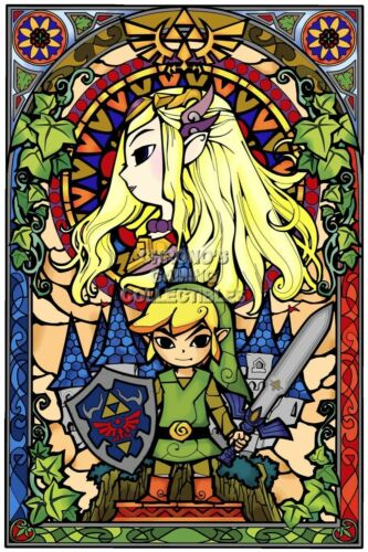 Legend of Zelda Poster Art Print Stained Glass Paper NEW