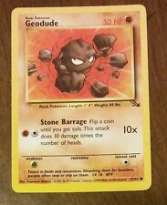 Geodude 47/62 #74 1999 Pokemon Fossil Common Individual Card  W/ Protector