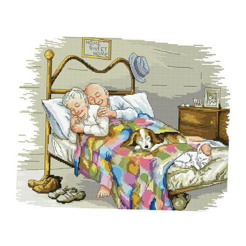 Old Married Couple 14CT 44x36cm Cross Stitch Kits Embroidery Kit Stamped
